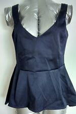 Brand New ASOS fitted evening top blouse size 12 dip hem navy flattering fit