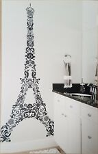 "EIFFEL TOWER Decal Sticker GIANT WALL MURAL Black PARIS Theme 42"" x 96"" LARGE 8'"