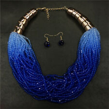 Boho Beads Necklace and Earrings Jewelry Set for Women Multi-Layer Necklaces