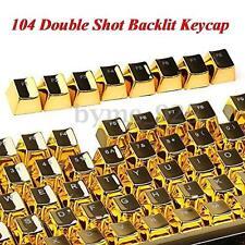 104 PBT Double Shot Backlit Gold Metal Color Keycap for Mechanical Keyboard