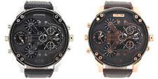 MABZ Uomo Dual Time Zone Cinturino IN Pelle Decorativo Dials Orologio Analogico