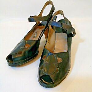 Vintage Navy Blue Leather Open Toe Back Strap Pumps Size 7B Vitality Shoes 1940s