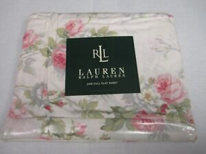New Ralph Lauren Shabby Cottage FAYE Ivory Pink Rose Floral Flat Sheet - Full