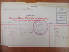Vintage movie letterhead Berner Bros publishing co Antigo advertising 11-3-1911