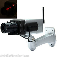 Dummy Camera Fake Surveillance CCTV Security Red Flash Light Outdoor Waterproof