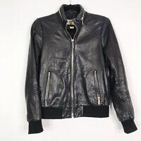 Michael Michael Kors Womens XSmall XS Leather Bomber Jacket Black Zip Front