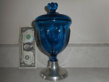 """Empire Weighted Pewter 870 Viking Bluenique Glass Petal Candy Dish 8.25"""" X 4.5"""""""