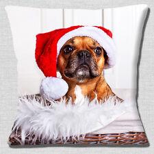 """BROWN FRENCH BULLDOG WEARING SANTA HAT CHRISTMAS PHOTO 16"""" Pillow Cushion Cover"""