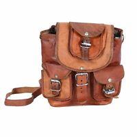 """Genuine Handmade backpack Bag Pack Back Leather 13"""" New Men's Women's Travel"""