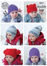 BABY HAT'S 6 DESIGNS  DK KNITTING PATTERN FOR SIZE 6months-7 year KING COLE 4651