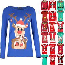 Womens Xmas Cap Sleeve Top Ladies Reindeer Pom Cap Christmas Jersey T Shirt