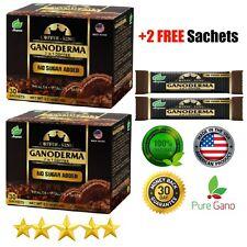 PureGano Premium Black Ganoderma Red Reishi Instant Coffee (2) Boxes 62 Sachets