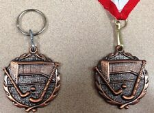 *NEW FIELD HOCKEY BRONZE MEDAL WITH RIBBON OR SPLIT RING  FREE ENGRAVING INCLUD