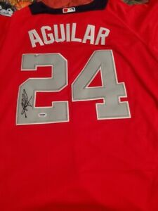 Jesus Aguilar Signed Jersey PSA/DNA COA 2018 All Star Game Milwaukee Brewers