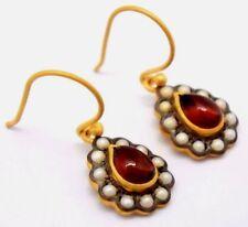 Ohrringe Granat & Perle Perlen   925 Sterling Silber  Vergoldet  ANTIK STYLE