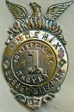 1902 Muster Badge Phoenix Fire of Poughkeepsie & Bussey Steamer Fire Co, Troy NY