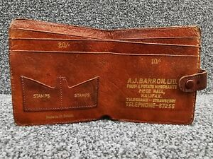 1970s Vintage Leather Wallet Great Britain Halifax England, Money Stamp Pocket
