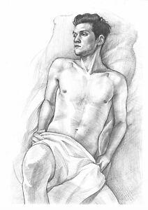 original drawing A4 18KL art samovar Graphite modern male nude Paper: 70 g/m2