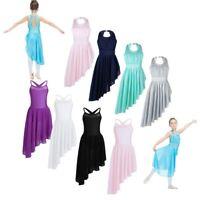 Girls Lyrical Dance Leotard Irregular Dress Ballet Gym Dancewear Skirt Costume