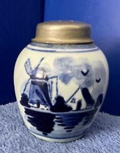 "Rare Delft Miniature Ginger Jar / Salt Shaker with Metal Top (2""x 1.5"") ~ Signed"