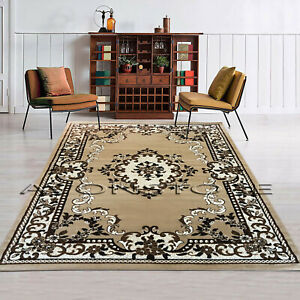 Traditional Area Rug Luxury Floral Design Classic Room Soft Beige Rug Runner Mat