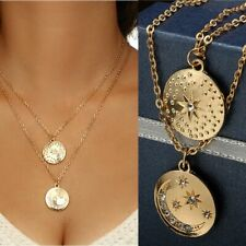 Crystal Rhinestone Necklace Coin Star Moon Pendant Multilayer Gold Chain