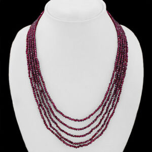 TOP ATTRACTIVE AAA 259.00 CTS NATURAL GARNET 5 LINE FACETED BEADS NECKLACE (RS)