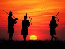 Photo Mock Up Silhouette Sunset Trio Scottish Pipers Canvas Art Print