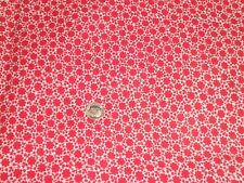 VINTAGE PRETTY RED & WHITE TINY FLORAL FEED SACK COTTON FABRIC UNUSED