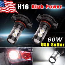 2x H16 White 6000K 60W High Power Fog Drving DRL LED Light Bulb 5201 5202