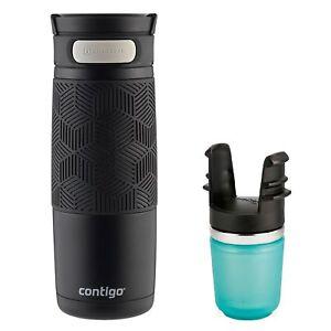 Contigo AUTOSEAL Transit Travel Mug & Tea Infuser Set 16oz Matte Black Stainless