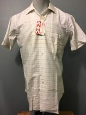 Vtg 50s 60s Nos Nwt Cotton Dress Shirt Mens S Deadstock Rockabilly Vlv S/S Plaid