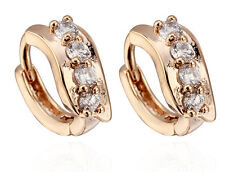 18 k Gold Plated Jewellery Small Girls Hoops with White Zircons Earrings E724