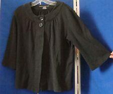 Trendy SHORT TOP Tunic SWEATER by MOUNTAIN LAKE 2 Button Sz L 100% Cotton BLACK