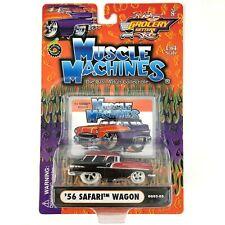 Muscle Machines 1956 '56 Pontiac Safari Wagon Black/Red Car Die Cast 1/64 Scale
