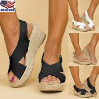 Womens Cross Strap Platform Wedge Heels Sandals Summer Espadrilles Shoes Size US