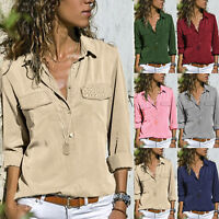 Womens Long Sleeve V Neck Loose Blouse Tops OL Casual Solid T-Shirts Plus Size