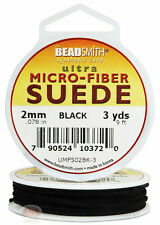 Black Micro-Fiber Faux Leather Suede Lace 2.743m Beading Cord Spool 3 Yds.