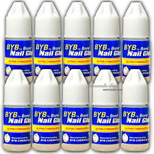 10 Bottle 3g NAIL ART GLUE STRONG ADHESIVE FOR ACRYLIC FALSE NAILS Tips Decor