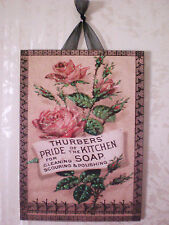 LARGE Vintage Rose Soap Sign Postcard Plaque Picture