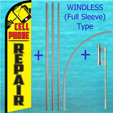 Cell Phone Repair Windless Banner Flag + Pole Mount Kit Tall Feather Swooper