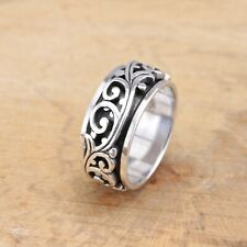 Mens Womens 925 Sterling Silver Vines Scrolls Spinning Worry Band Thumb Ring