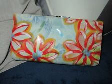 Lodis Los Angeles leather hand wallet clutch. gorgeous hand painted wallet RARE