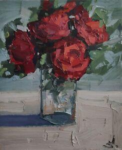 RED ROSES OIL PAINTING BY ARTIST VIVEK MANDALIA IMPRESSIONIST STILL LIFE 12 X 10