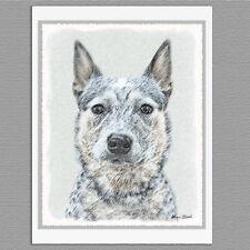 6 Australian Cattle Dog Blank Art Note Greeting Cards