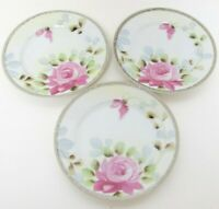 Antique TE-OH NIPPON China Dishes Set of 3 Hand Painted Moriage Pink Roses Raise