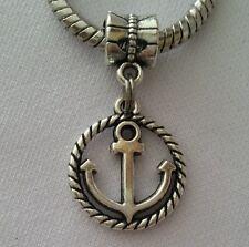 Silver Ship Anchor Nautical Slider Dangle Bead Fit European Style Charm Bracelet