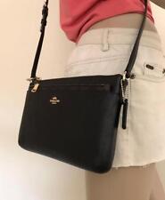 NWT Coach Black Crossgrain Leather Pop Corssbody Bag With Pouch F57788