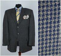Men WESTMINSTER SIZE UK 46R Check Houndstooth Wool Blue Sport Coat Blazer Jacket