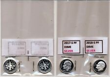 2017-S & 2018-S PROOF  [SILVER]  ROOSEVELT  DIMES ( 2 COINS)